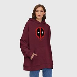 Толстовка-худи оверсайз Deadpool logo цвета меланж-бордовый — фото 2