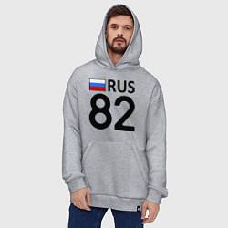 Толстовка-худи оверсайз RUS 82 цвета меланж — фото 2