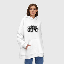 Толстовка-худи оверсайз Suicide Silence цвета белый — фото 2