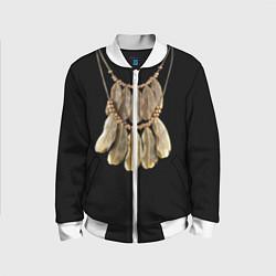 Бомбер детский Золотые перья цвета 3D-белый — фото 1