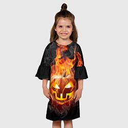 Платье клеш для девочки Огненная стихия хэллоуин цвета 3D-принт — фото 2