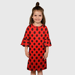 Платье клеш для девочки Леди Баг: узор цвета 3D-принт — фото 2