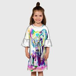 Платье клеш для девочки Акварельные слоны цвета 3D — фото 2