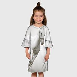 Платье клеш для девочки Белый конь цвета 3D-принт — фото 2
