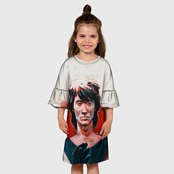 Платье клеш для девочки Молодой Цой цвета 3D-принт — фото 2