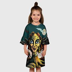 Платье клеш для девочки Будь как дома, путник цвета 3D-принт — фото 2