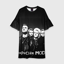 Платье клеш для девочки Depeche Mode: mono цвета 3D-принт — фото 1