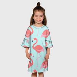 Платье клеш для девочки Розовые фламинго цвета 3D — фото 2