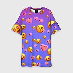 Платье клеш для девочки Очень много эмодзи цвета 3D — фото 1