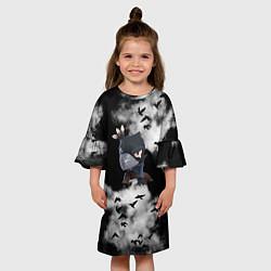 Платье клеш для девочки Ворон цвета 3D — фото 2