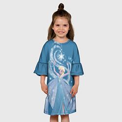 Платье клеш для девочки Принцесса Эльза цвета 3D — фото 2
