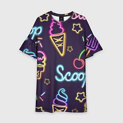 Платье клеш для девочки Мороженное неон цвета 3D-принт — фото 1