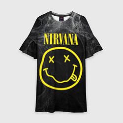 Платье клеш для девочки Nirvana Smoke цвета 3D-принт — фото 1