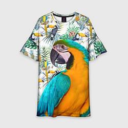 Платье клеш для девочки Летний попугай цвета 3D — фото 1