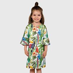 Платье клеш для девочки Попугаи в тропиках цвета 3D — фото 2