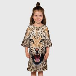Платье клеш для девочки Взгляд леопарда цвета 3D — фото 2