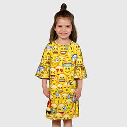 Платье клеш для девочки Emoji цвета 3D-принт — фото 2
