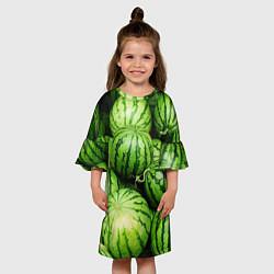 Платье клеш для девочки Арбузы цвета 3D — фото 2
