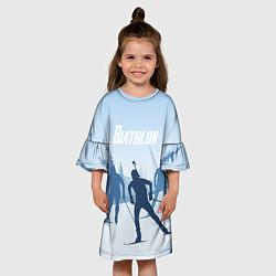 Платье клеш для девочки Биатлон цвета 3D — фото 2
