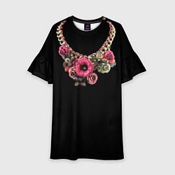 Платье клеш для девочки Золото и цветы цвета 3D — фото 1