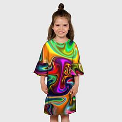 Платье клеш для девочки Неоновые разводы цвета 3D-принт — фото 2