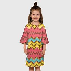 Платье клеш для девочки Цветные зигзаги цвета 3D — фото 2