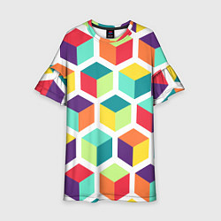 Платье клеш для девочки 3D кубы цвета 3D — фото 1