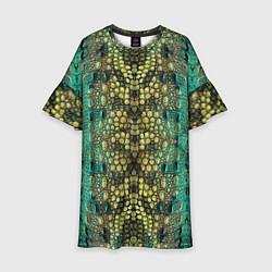Платье клеш для девочки Крокодил цвета 3D — фото 1