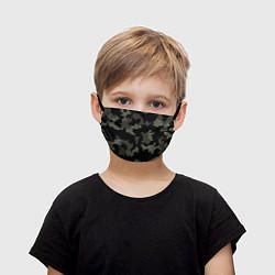 Маска для лица детская Камуфляж пиксельный: черный/серый цвета 3D — фото 1