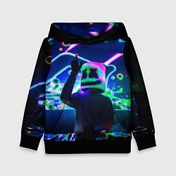 Толстовка-худи детская Marshmello: Neon DJ цвета 3D-черный — фото 1