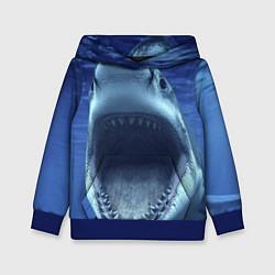 Толстовка-худи детская Белая акула цвета 3D-синий — фото 1