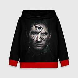 Толстовка-худи детская Messi Black цвета 3D-красный — фото 1