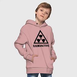 Детская хлопковая толстовка оверсайз с принтом Radioactive, цвет: пыльно-розовый, артикул: 10010983706093 — фото 2
