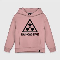 Детская хлопковая толстовка оверсайз с принтом Radioactive, цвет: пыльно-розовый, артикул: 10010983706093 — фото 1