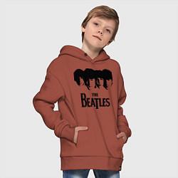 Толстовка оверсайз детская The Beatles: Faces цвета кирпичный — фото 2