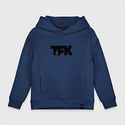 Толстовка оверсайз детская TFK: Black Logo цвета тёмно-синий — фото 1