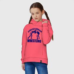 Толстовка оверсайз детская Greco-roman wrestling цвета коралловый — фото 2