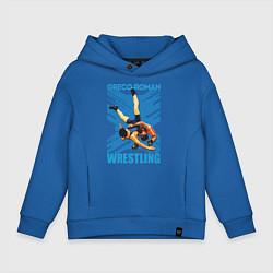 Толстовка оверсайз детская Greco-roman wrestling цвета синий — фото 1