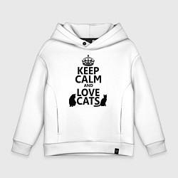 Толстовка оверсайз детская Keep Calm & Love Cats цвета белый — фото 1