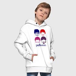 Толстовка оверсайз детская The Beatles faces цвета белый — фото 2