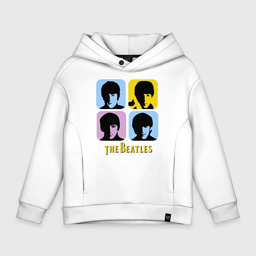 Детское худи оверсайз The Beatles: pop-art / Белый – фото 1
