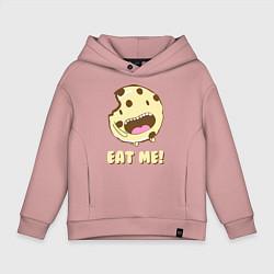 Толстовка оверсайз детская Cake: Eat me! цвета пыльно-розовый — фото 1