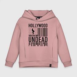 Толстовка оверсайз детская Hollywood Undead: flag цвета пыльно-розовый — фото 1