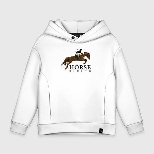 Детское худи оверсайз HORSE RIDING / Белый – фото 1