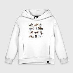 Толстовка оверсайз детская Конный виды спорта цвета белый — фото 1