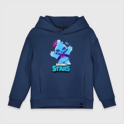 Толстовка оверсайз детская Сквик Squeak Brawl Stars цвета тёмно-синий — фото 1