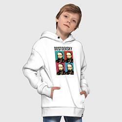 Толстовка оверсайз детская Dostoevsky цвета белый — фото 2