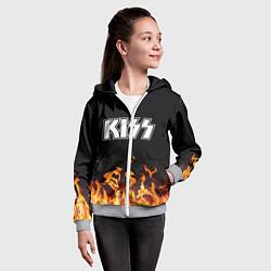 Толстовка на молнии детская Kiss: Hell Flame цвета 3D-меланж — фото 2