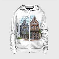 Толстовка на молнии детская Амстердам цвета 3D-белый — фото 1