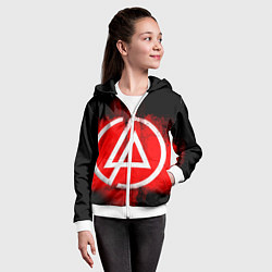 Толстовка на молнии детская Linkin Park: Red style цвета 3D-белый — фото 2